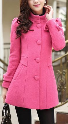 Elegant Stand Collar Candy Color Belt Design Long Sleeve Coat For ...