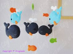 Whale Mobile Baby Mobile Nursery Mobile Baby Room by hingmade