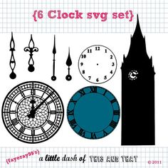 6 Clock Svg Dxf Set