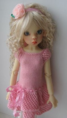 """Hand Knit Doll Outfit Set for 18"""" Kaye Wiggs, BJD MSD"""