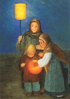 Postcard with a painting of people and their lanterns on St. According to Wikipedia, St. Martin's Day is November In Germany, it is celebrated by processions of people with lanterns in the evening. Sent by a Postcrosser in Germany. Fairy Paintings, Waldorf Crafts, All Souls Day, All Saints Day, Autumn Crafts, Religion, Dahl, Paper Lanterns, Children's Book Illustration