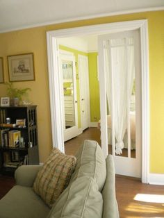 Andi's South Park Bungalow• Living Room: Benjamin Moore, Cork• Bedroom: Benjamin Moore, Dill Pickle