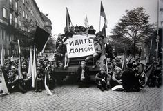 "Prague spring 1968 : protesters holding poster ""Go Home"" Prague Spring, Visit Prague, Prague Cz, Fear Of The Unknown, Old Photography, East Germany, Berlin Wall, Interesting History, Eastern Europe"
