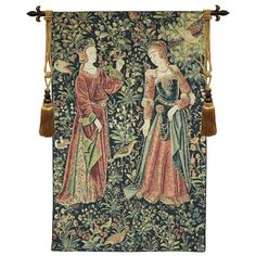This Promenade tapestry is a detail from 'La tenture de la Vie Seigneuriale' in the Cluny Museum, Paris. This Belgian medieval tapestry is lined. Medieval World, Medieval Art, Renaissance Clothing, Renaissance Fashion, Museum Paris, Empire Romain, Medieval Tapestry, Tapestry Wall Hanging, Middle Ages