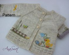 Pattern baby cardigan with chicken. Pattern baby cardigan with chicken.Pattern baby cardigan with chicken. , knitting & crochet Source by romaromi. Cardigan Bebe, Knitted Baby Cardigan, Baby Pullover, Summer Cardigan, White Cardigan, Knitting For Kids, Baby Knitting Patterns, Baby Patterns, Hand Knitting