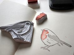 little red robin / stamp Handmade Robin stamp Types Of Photography, Eraser Stamp, Stamp Carving, Stamp Printing, Transfer Printing, Fabric Stamping, Handmade Stamps, Linocut Prints, Art For Kids