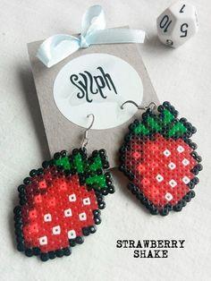 8bit pixelart Strawberry Shake dangle earrings by SylphDesigns