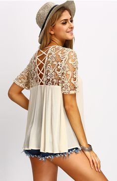 Apricot Crochet Lace Yoke Lace Up Back Blouse. Super amazing lace crochet and super soft cotton material. Cute with it's tent line, and also chic with it's crochet sleeve. Love!