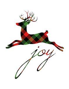 check-plaid-reindeer-joy-free-christmas-printable - The Happy Housie Tartan Christmas, Christmas Tree Themes, Christmas Mood, Christmas Svg, Christmas Colors, Rustic Christmas, Christmas Graphics, Xmas, Free Printable Christmas Cards