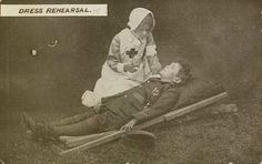 Young girl dressed as red cross nurse tends young boy dressed as British soldier. Vintage Nurse, Round Two, In Cold Blood, American Red Cross, Rehearsal Dress, British Soldier, Kids Poster, Young Boys, Heavenly Father