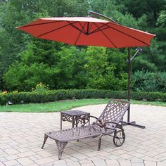 Outdoor Oakland Living Mississippi Cast Aluminum Chaise Lounge with Side Table and Cantilever Umbrella - 2108-2106-4110-BO-3-AB