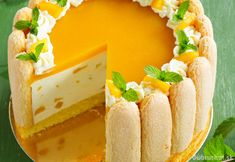 charlotte à la mangue - french gateaux for the team and friends Sweet Recipes, Cake Recipes, Rodjendanske Torte, Charlotte Cake, Mousse Cake, Watermelon Recipes, Love Food, Cupcake Cakes, Food And Drink