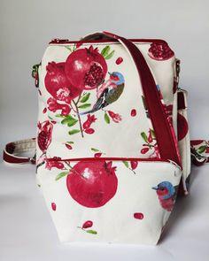 14 отметок «Нравится», 1 комментариев — АТЕЛЬЕ ТЕКСТИЛЬНЫХ ИЗДЕЛИЙ 🐛 (@caterpillar.textile) в Instagram: «Сумка-рюкзак с гранатами и птичками  Garnet Print collection Caterpillar textile + косметичка…» Fashion Backpack, Backpacks, Bags, Handbags, Women's Backpack, Totes, Hand Bags, Backpack, Purses