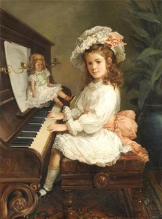 "Nicholas Chevalier (Russian-born Ausralian 1828-1902) ""Portrait of Miss Winifred Hudson as a young girl"""