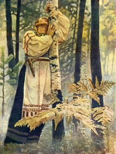 """Aino - by Russian artist Mechev MM. Aino - in the Finnish national epic Kalevala, was the sister of Joukahainen, who promised Aino's """"hands & feet"""" in marriage to Väinämöinen if he would save him from drowning in a swamp. Aino's mother was pleased at the idea of her daughter marrying such a famous person, but Aino did not want to marry an old man. Rather than submit she drowned herself (or ended up as a nix). However, she returned to taunt the grieving Väinämöinen as a salmon."""