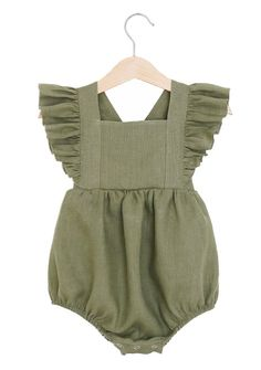 Handmade Olive Green Linen Vintage Style Baby Romper | RockyRacoonApparel on Etsy