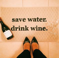 Save Water. Drink Wine. Kitchen mat from Be There in Five. Funny home decor, funny gift, gifts for girls, wine drinkers