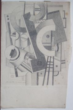 FERNAND LEGER signed pencil drawing #Cubism 1912