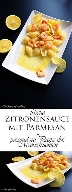 Zitronensauce A wonderful lemon sauce. It goes well with pasta, fish and poultry. A wonderful lemon and Parmesan component determine this sauce. Garlic Recipes, Sauce Recipes, Pasta Recipes, Easy Fish Recipes, Healthy Recipes, Butter Pasta, Good Food, Yummy Food, Lemon Sauce