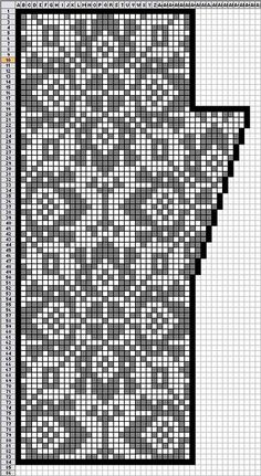 Fair Isle knitting chart - could be use for filet crochet or cross stitch Filet Crochet, Crochet Mittens, Mittens Pattern, Crochet Chart, Crochet Granny, Fair Isle Knitting Patterns, Knitting Charts, Knitting Stitches, Knitting Designs