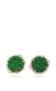 One Of A Kind Uvaronite Garnet And Irregular Diamond Stud Earrings by Kimberly McDonald for Preorder on Moda Operandi