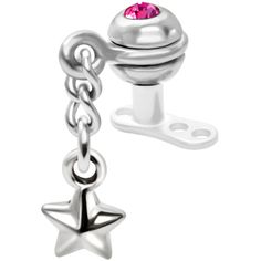 $12.99 #piercing #microdermal #dermal #bodycandy Pink Gem Ball Dangling Star Dermal Anchor Top