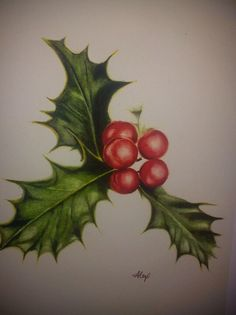 Holly watercolor Christmas card