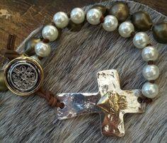 Sideways Cross Hammered Pearl Bracelet by Secret Stash Boutique, $21.00  etsy.com/shop/secretstashboutique