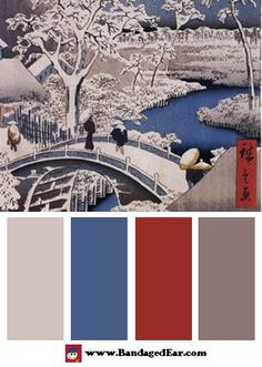 Color Palette: Drum Bridge at Meguro by Ando Hiroshige