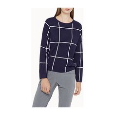 Icône Loose windowpane-check sweater ($44) ❤ liked on Polyvore featuring tops, sweaters, graphic tops, loose fit sweater, loose fitting tops, drop shoulder tops and graphic design sweaters