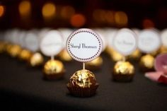 See more about place cards, name cards and place card holders. Wedding Cards, Wedding Favors, Party Favors, Wedding Ideas, Banquet Decorations, Wedding Decorations, Fererro Rocher, Chocolate Names, Place Names