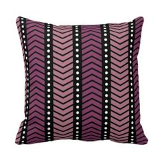 Modern Chevron with Dots Pink Black and White Pillow