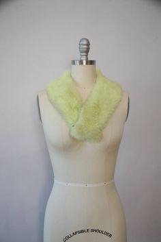 vintage kiwi green genuine fur stole by XhereliesbootsX on Etsy