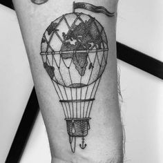 What does hot air balloon tattoo mean? We have hot air balloon tattoo ideas, designs, symbolism and we explain the meaning behind the tattoo. Future Tattoos, New Tattoos, Cool Tattoos, Small Tattoos, Air Balloon Tattoo, Hot Air Balloon, Tatoo Travel, Globus Tattoos, Erde Tattoo