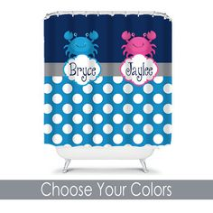 Personalized Shower Curtain   Pink And Blue  Shared Curtain Available  Chevron, Zigzag Chevron And Swoops With Childrenu0027s Theme | Pink Blue, Blue  And Boys Part 64