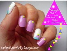 Anita Nails: Triangle Nails with Neon Studs by KK :) Triangle Nails, Nail Blog, Nail Games, Gel Polish, My Nails, Studs, Nail Art, Neon, My Style