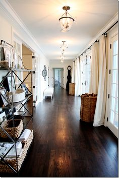 Modern Country Style: Modern Country House Tour In White, Black And Brown. Love … Modern Country Style: Modern Country House Tour In White, Black And Brown. Love this flow through entryway. love the white drapes. Staining Wood Floors, Diy Wood Floors, Flooring Ideas, Hardwood Floors, Dark Flooring, Flooring 101, Engineered Hardwood, Laminate Flooring, Modern Flooring