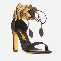 c7823f99a1a9 Rupert Sanderson Women s Eden Heeled Sandals - Black Satin Gold Silk - Free  UK Delivery over £50