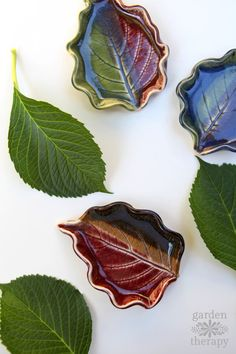 These clay leaf dishes are project you can do anytime throughout the year. Head out to the garden and look for unique shapes to preserve. Then it's just a matter of using clay to mold them and paint or glaze to decorate. - Crafts For Us Polymer Clay Crafts, Diy Clay, Slab Pottery, Ceramic Pottery, Keramik Design, Crafts For Teens To Make, Kids Diy, Clay Bowl, Creation Deco