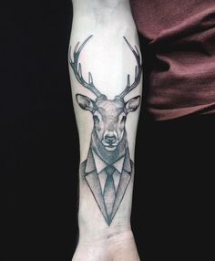 Stag in a suit tattoo