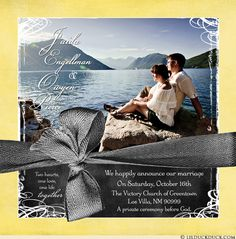 """Sunshine yellow photo marriage announcement celebrates union of """"Two hearts, one love, one life together."""". Summery, butter yellow surrounds gorgeous color"""