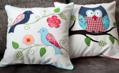 cute bird appliqued pillow