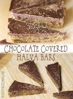Chocolate covered halva bars – indulgent but healthy! #glutenfree #vegan #dairyfree #nobake
