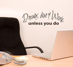 Dreams Dont Work unless you do words wall decal office decor sign lettering, Workplace inpirational quotes Teacher via Etsy