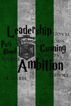 Slytherin   by onejamephilly -- Harry Potter iPhone 4 Wallpaper. - Each contains the house crest and their main character traits. Also are included some notable house members.