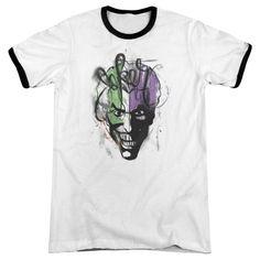 Batman Joker Airbrush White / Black Ringer T-Shirt