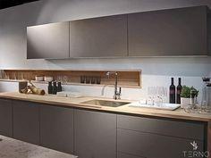 Кухня - Серый Графит. Деревянная столешница.