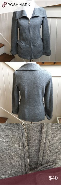 Escada cashmere blend zip up Reposh, love this but went crazy and now have too many sweaters 😜 in good condition, but a few small holes as shown. Also, top zipper pull broke off (still have it) so you have to pinch the little thing to zip it up. (See pic) size 36 fits size 6 Escada Sweaters Cardigans