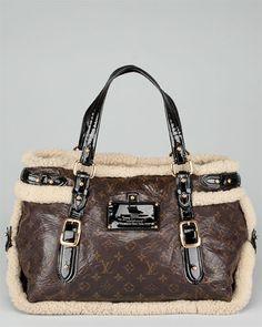 Louis Vuitton Brown Monogram Leather & Shearling Sac Thunder Bag