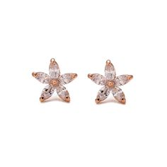 Genuine Austrian crystal flowers 18k rose gold plated pierced earrings